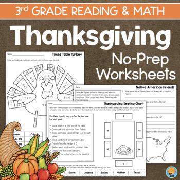 Thanksgiving Math & Reading Worksheets 3rd Grade