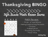 Thanksgiving Math Review Bingo Game Fifth Grade
