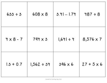 Thanksgiving Math Review Bingo Game Fifth Grade