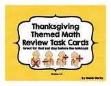 Thanksgiving Math Review Task Cards