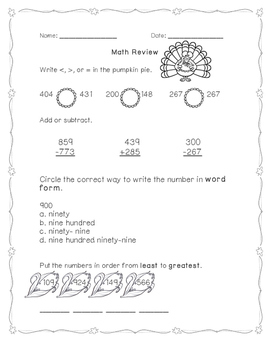 Thanksgiving Math Review- scoot and practice pages