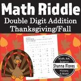 Thanksgiving Math Riddle - Double Digit Addition Worksheet - Fun Math