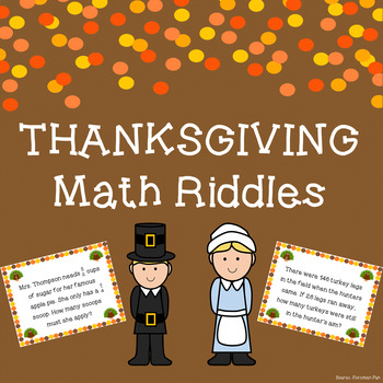 Thanksgiving Math Riddle Task Cards ~ Grades 4-5