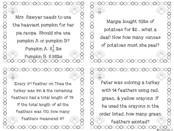 Thanksgiving Math Task Cards ~ Grades 4-5
