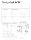 Thanksgiving Math Riddles