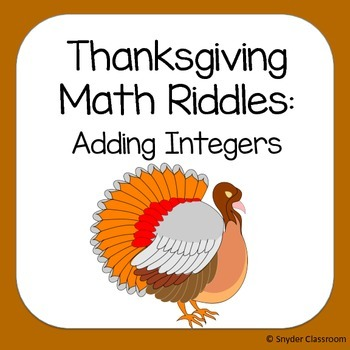 Thanksgiving Adding Integers Math Riddles