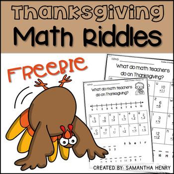 Thanksgiving Math Riddles FREEBIE