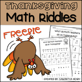 Thanksgiving Math Riddles FREEBIE