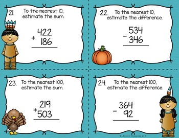 Thanksgiving Math Rounding and Estimating Sums and Differences Game