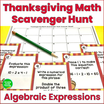 Thanksgiving Activities: Math Scavenger Hunt Review for 5th Grade