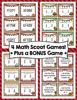 Thanksgiving Math Scoots - 4th Grade