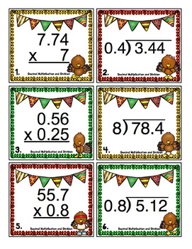 Thanksgiving Math Scoots - 5th Grade