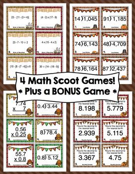Thanksgiving Math Scoots - 5th Grade