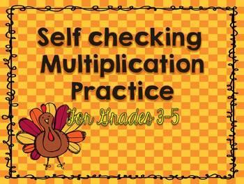 Thanksgiving Math: Self Checking Multiplication Practice f