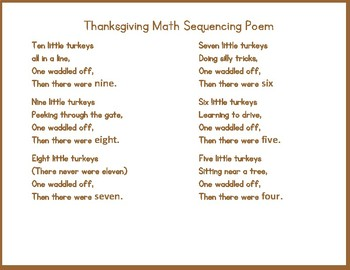 Thanksgiving Math Sequencing Poem