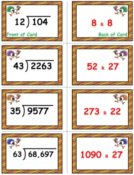 Thanksgiving Math Skills & Learning Center (Division with 2-Digit Divisors)