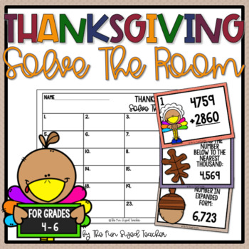 Thanksgiving Math Solve the Room (or Scoot!)