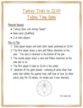 Thanksgiving Math Games - Turkey Glyph, Telling Time and Multiplication