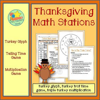 Thanksgiving Math Stations - Turkey Glyph, Telling Time &