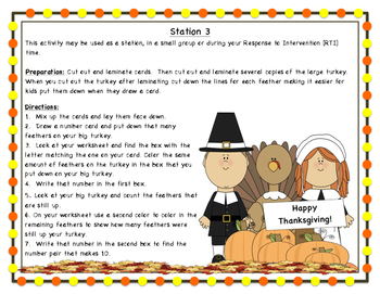 Thanksgiving Math Stations: Making 10 From Any Given Number