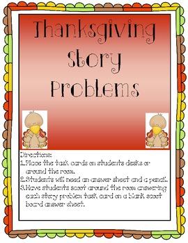 Thanksgiving Math Story Problem Solving