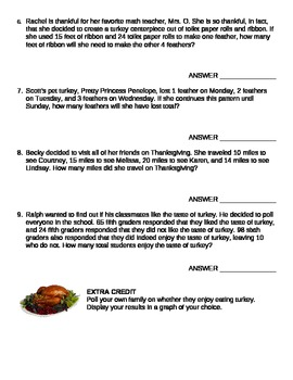 Thanksgiving Math Story Problems - Mixed Applications