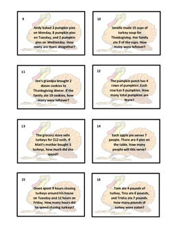 Thanksgiving Math Word Problems Game - Toss the Turkey