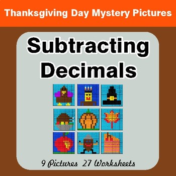 Thanksgiving Math: Subtracting Decimals - Color-By-Number Math Mystery Pictures