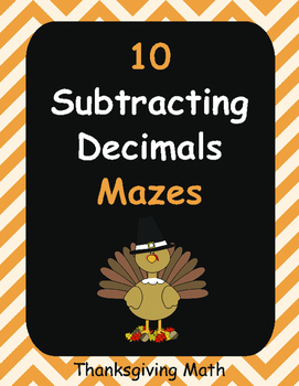 Thanksgiving Math: Subtracting Decimals Maze