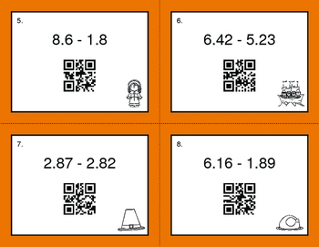 Thanksgiving Math: Subtracting Decimals QR Code Task Cards