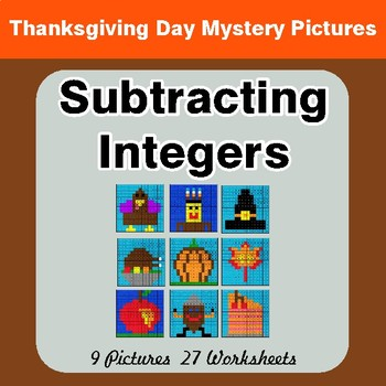 Thanksgiving Math: Subtracting Integers - Color By Number Math Mystery Pictures