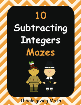 Thanksgiving Math: Subtracting Integers Maze