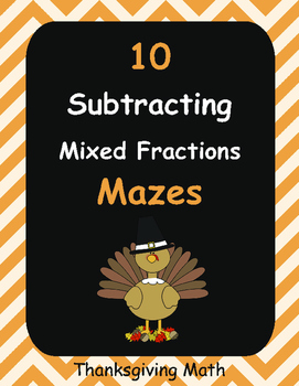 Thanksgiving Math: Subtracting Mixed Fractions Maze