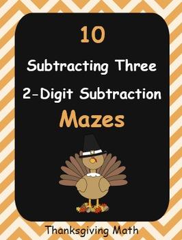 Thanksgiving Math: Subtracting Three 2-Digit Subtraction Maze