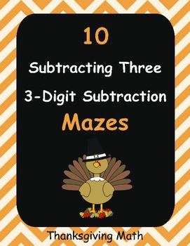 Thanksgiving Math: Subtracting Three 3-Digit Subtraction Maze