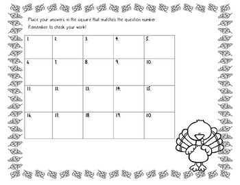 Thanksgiving Multiplication Task Cards