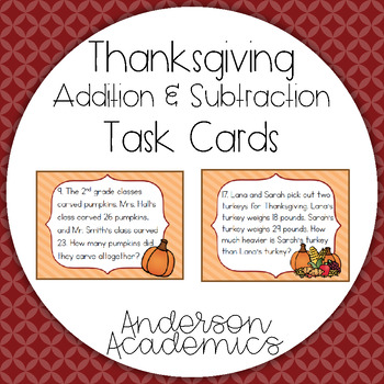 Thanksgiving Math Task Cards - Addition & Subtraction