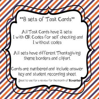 Thanksgiving Math Task Cards *Bundle* 4th Grade Common Core Aligned