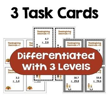 Thanksgiving Math - Adding Decimals FREE Task Cards