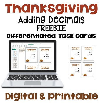 Thanksgiving Adding Decimals Task Cards - FREE