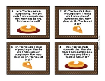 Thanksgiving Math Task Cards (First Grade)