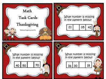 Thanksgiving - Math Task Cards