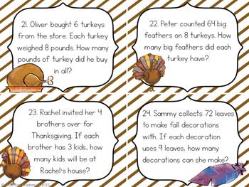 Thanksgiving Multiplication & Division Task Cards {3.OA.2} {3.OA.3}