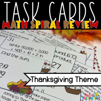 Thanksgiving Math Task Cards SCOOT 3rd grade 4th grade TEKS CCSS