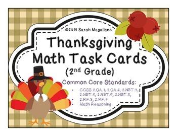 Thanksgiving Math Task Cards (Second Grade)