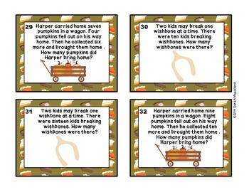 Thanksgiving Math Task Cards (Second Grade)