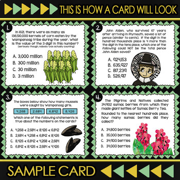 Thanksgiving Math Task Cards for 4th Grade ★ Math Assessment & Mid-Year Review
