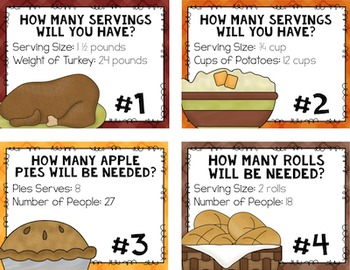Thanksgiving Math Real Life Task Cards