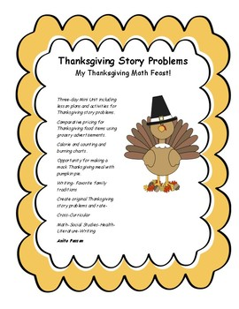 "Thanksgiving Math Story Problems ""My Thanksgiving Math Feast!"""