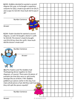 Thanksgiving Math: The Gobbles & The Fowlers in Disguise 3rd - 4th Grade